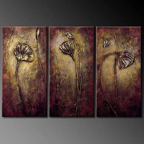 Wieco Art – Bronze Elegance 100 Hand-Painted Oil Paintings,Modern Canvas Wall Art Floral Oil Painting on Canvas for Home Decor,Stretched and Framed,Ready to Hang,16x32inchx3pcs set