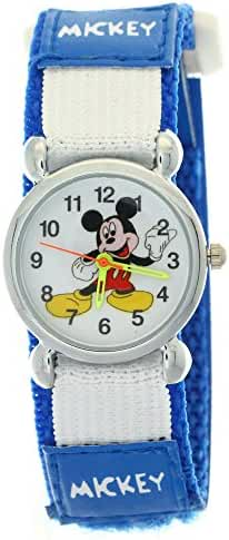TimerMall Disney Cartoon Mickey Mouse Dark Blue Nylon Velcro Tape Quartz Kids Watches