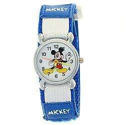 TimerMall Disney Cartoon Mickey Mouse Dark Blue Nylon Velcro Tape Quartz Kids Watches