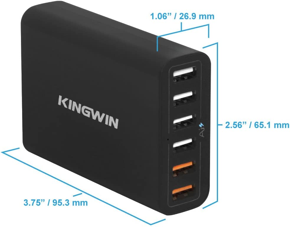 Kingwin PS-7343 60W 6-Port USB Quick Charge 2.0 Desk Charger Hub With IQ Quick Charging Station For Multiple Devices Iphone And Android Charger