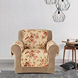 MN 1 Piece Beige Red Floral Theme Chair Protector, Grey Teal Flower Pattern Couch Protection Flowers Roses Leaves Furniture Protection Cover Pets Animals Covers Nature, Polyester