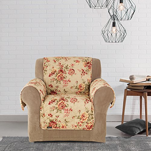 MN 1 Piece Beige Red Floral Theme Chair Protector, Grey Teal Flower Pattern Couch Protection Flowers Roses Leaves Furniture Protection Cover Pets Animals Covers Nature, Polyester by MN