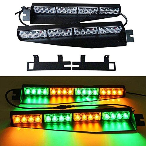32W LED Lightbar Visor Light Windshield Emergency Strobe Split Mount Deck Dash Lamp (Amber&Green) ()