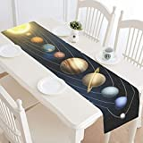 Cotton Linen Burlap Table Runner 14 x 72 Inch Solar System Planets Universe Outer Space, for Wedding Party Holiday Dinner Home Decor