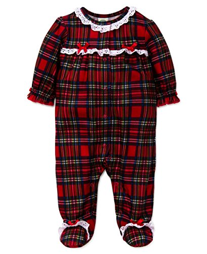 Little Me Baby Girls Girls Plaid Christmas Footie