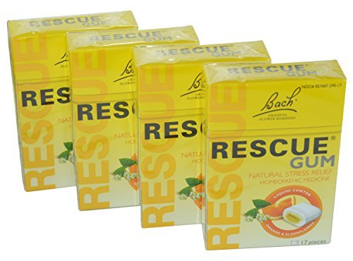 Bach Flower Essences Rescue Chewing Gum, 17 pc (Pack of 4)
