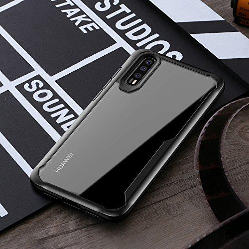 MOZEEDA Huawei P20 Hülle, klar, kratzfest, harte PC-Rückseite, Schutzhülle, schlanke Stoßdämpfung TPU, Stoßfänger, weiche Handyhülle für Huawei P20 (Schwarz)