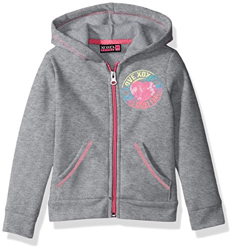 XOXO Toddler Girls' Fleece Logo Hoodie, Gray Heather, 3T - Logo Fleece Jacket