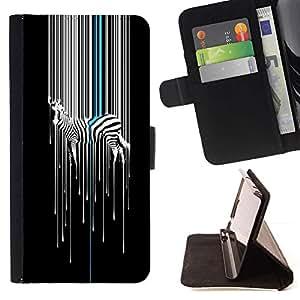 Momo Phone Case / Flip Funda de Cuero Case Cover - Arte Minimalista Blanco Negro Stripes - Sony Xperia M4 Aqua