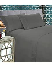 Elegant Comfort Luxury Best, Soft Coziest 4-Piece Bed Sheet Set! 1500 Thread Count Egyptian Quality   Quilted Design on Flat Sheet and Pillowcases   Wrinkle Free, 100% HypoAllergenic