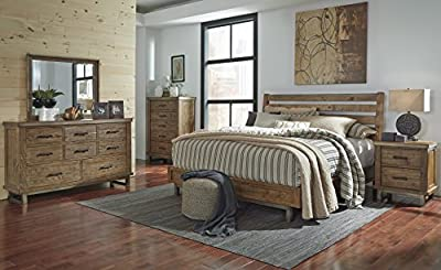 Dondia Warm Brown Solid Wood Industrial Bedroom Collection