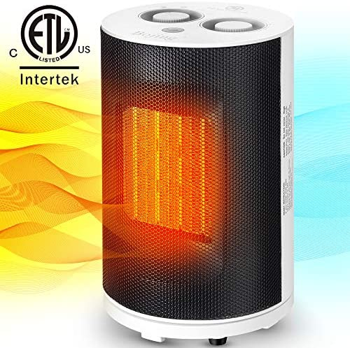 Bojing Space Heater, Electric Ceramic Heater with Thermostat and Overheat Protection, Quiet Fan Heater with Adjustable Heating Level 950W 1500W
