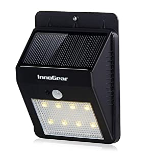 InnoGear® Solar Powered Motion Sensor Light Wall Sconces Outdoor Waterproof Motion Detector Activated Lights Bright LED Security Night Lighting Auto On/ Off for Stairs Porch Fence Outdoor Driveway
