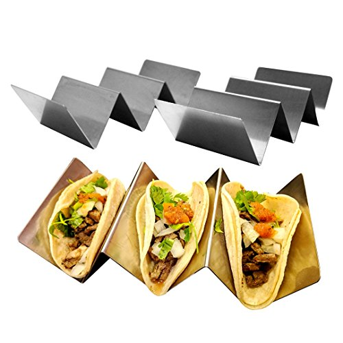 Stainless Steel Taco Holders 4 Pack   Perfect Taco Trays For Kitchens And Restaurants   Rack Holds Up To 3 Tacos Each   Fancy Taco Holder For Serving Soft And Hard Tacos   Dishwasher And Oven Safe