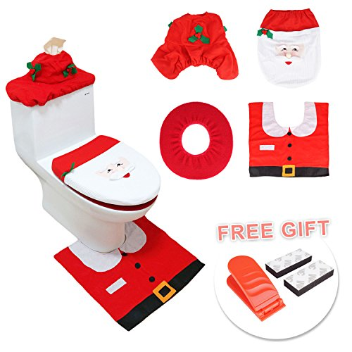 Santa Toilet Seat Cover and Rug Tank Commode Set for Christmas -Set of 5