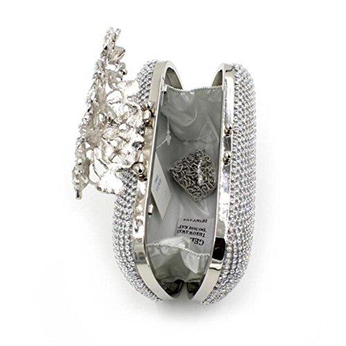 Flower Cross NBWE Bags Rhinestone Rose Purse Body Slive Evening Embrague Bolso Crystal Luxury zRq6g