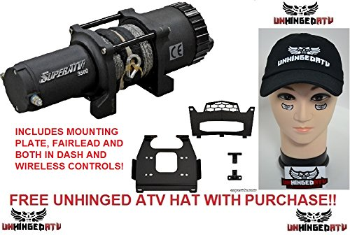 Bundle 2 Items: SuperATV 3500 lb. Winch WITH MOUNTING PLATE for Polaris RZR XP 1000 / XP 4 1K and FREE Unhinged ATV Hat!