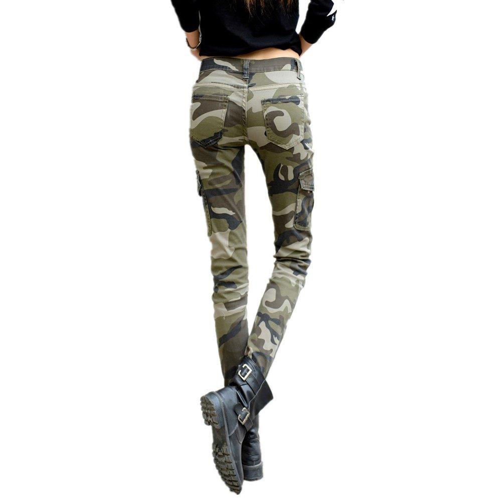 30697eb7698b95 NASKY Women's Camo Military Army Woodland Slim Stretch Jeans Tight Pants  Leggings Cargo Pencil Pants (Size 12 /Waist 31) at Amazon Women's Clothing  store: