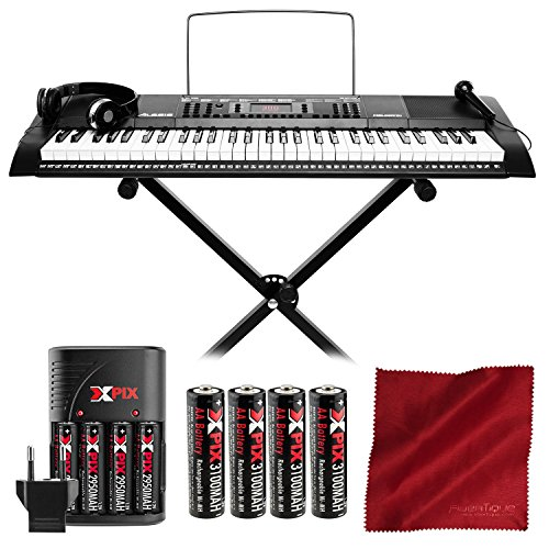 Alesis Melody 61 Portable 61-Key Keyboard with Xpix Rechargeable Battery Kit and Microfiber Cleaning Cloth