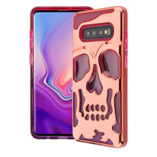 Bemz Lucid Skull Series Case Compatible with Samsung Galaxy S10, Double Layer (Military Grade Drop Tested) Phone Protector Case Cover - Pink/Rose Gold