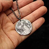 Full Moon Silver Necklace - Small | Celestial Lunar Reminder Token Pendant | Handmade by Shire Post Mint