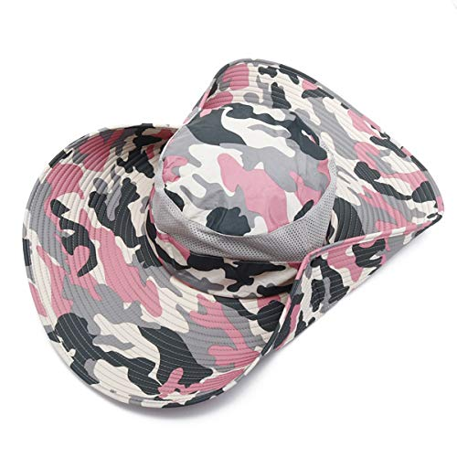 ACDOS Men Women Cotton Camouflage Foldable Round Hat Outdoor Breathable Mesh Bucket Cap Fisherman Hats ACDOS (Color : Color 1, Size : One size)