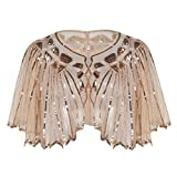 PrettyGuide Women's 1920s Shawl Beaded Sequin Deco Cape Bolero Flapper Cover up Champagne Pink
