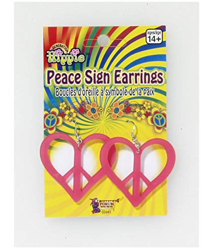 Pink Peace Heart (Heart Peace Sign Pink Earrings Adult Accessory)