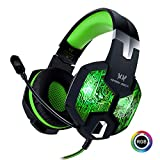 Stereo Gaming Headset with Mic for PC PS4 Xbox One Nintendo Switch,Lightweight Over Ear Headphones 3.5mm Jack for Laptop Mac,USB RGB LED Light & Noise Cancelling Mic Mute & Volume Control - Green