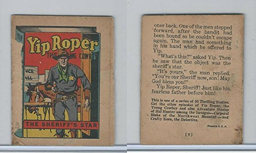 R25 American Chicle, Thrilling Stories, 1930's, Yip Roper, Sheriff's Star ()