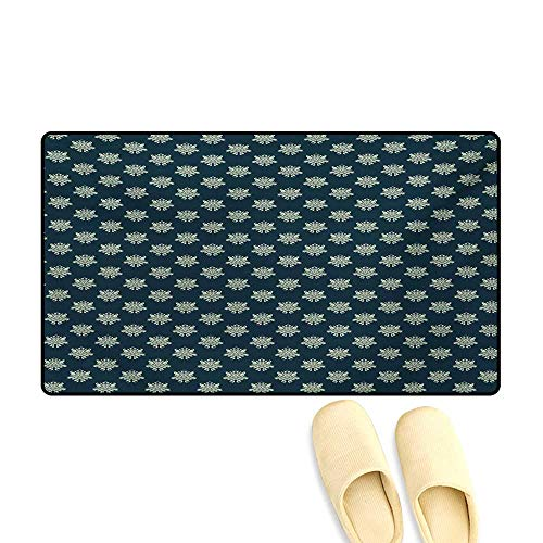 Leaf Pattern Mission (Bath Mat,Damask Style Swirls and Foliage Leaves Pattern with Arabesque Motifs,Customize Door Mats for Home Mat,Dark Blue Pale Green,32