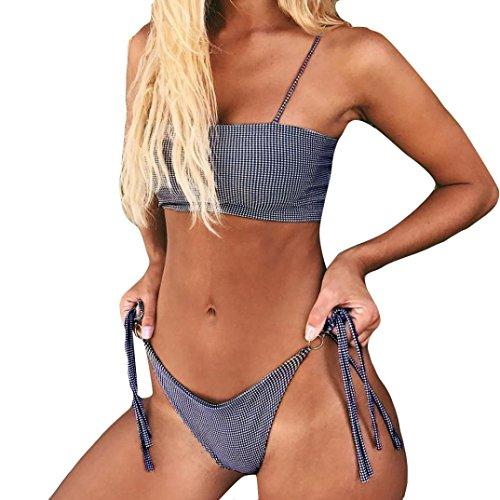 Ruhiku GW Sexy Push Up Padded Brazilian Bikini Set Strppy Swimwear Swimsuit Beach Bathing Suits (Dark Blue, - Sunglasses On V With Side