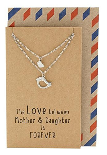 Quan Jewelry Mother Daughter Bird Necklace Set for 2, Birthday Gifts for Mom, Animal Charm for Mommy, Grandmom and Expectant Young Women, with Inspirational Quote on Greeting (Animal Silver Jewelry Set)