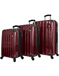 Mia Toro Spazzolato Lucido Hardside Spinner Luggage 3 Piece Set, Burgundy, One Size
