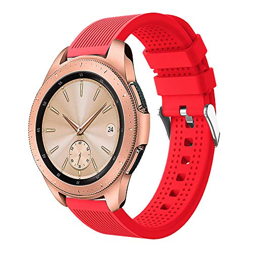 - Insaneness Pure Colour Stripe Sport Soft Silicon Accessory Watch Band for Samsung Galaxy Watch 42mm (Red)