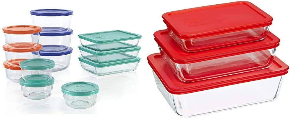 Pyrex Simply Store Meal Prep Glass Food Storage Containers (24-Piece Set, BPA Free Lids, Oven Safe) & Rectangular Food Storage, Red, (6 Pack)