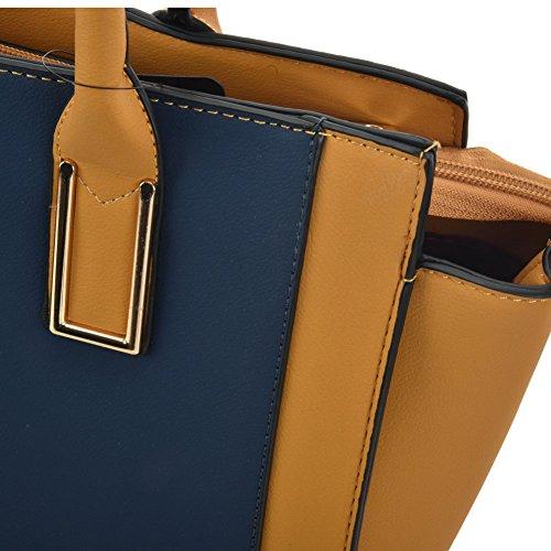 Top SALLY Women Handle YOUNG Fashion Handbags Tote Contrast Satchel Bag Blue YRPYgWB