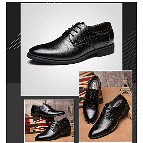 Junsite Black Business Leather Zapato Men DeLamode Luxurious Lacing Shoes Plaid fPOq6qw1