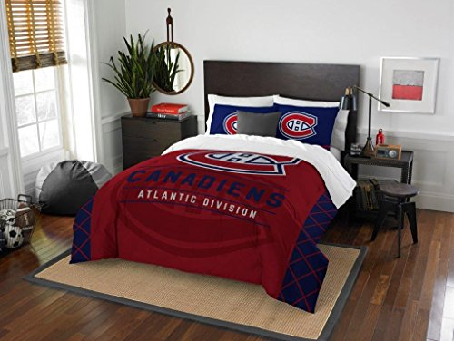 Montreal Canadiens - 3 Piece FULL / QUEEN SIZE Printed Comforter & Shams - Entire Set Includes: 1 Full / Queen Comforter (86