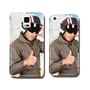 young handsome pilot wearing uniform and helmet over beach cell phone cover case iPhone6 Plus