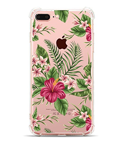 iPhone 8 Plus Case, iPhone 7 Plus Case, Hepix Soft Clear TPU Protective Bumper Tropical Palm Floral Print Cover Case [5.5 inch] (Palm Side Case)