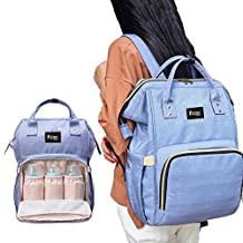 SENT CHARM Multifunction Large Capacity Backpack Baby Care Diaper Mummy Bag Portable Light Changing Bags with Water Bottle Frame (blue)