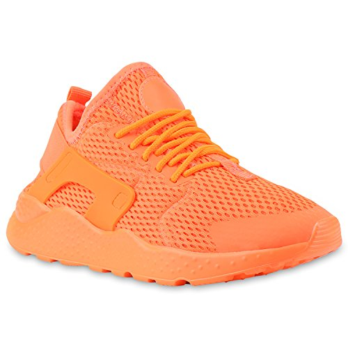 Unisex Sportschuhe Damen Herren Laufschuhe Bequeme Runners Profilsohle Metallic Schnürer Sneakers Neon Muster Glitzer Stoffschuhe Lack Flandell Neonorange Brooklyn
