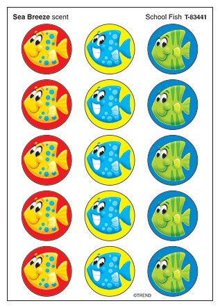 Stinky Sticker Lg Round School Fish Scratch N Sniff Fish Round Sticker
