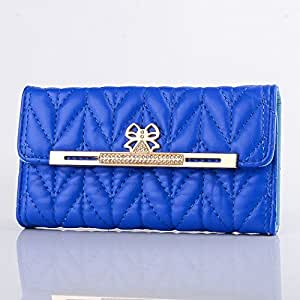 Big Mango Multipurpose Cute Crystal Diamond Design Flip Folio Leather Case / Clutch Wallet Cover for Apple iPhone 5 5s 5g with Mulitple ID Card Holders & Snap Button Closure & Money Pocket - Navy Blue
