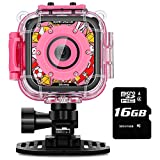 Kids Camera, iMoway Waterproof Video Cameras for Kids HD 1080P Kids Digital Cameras Camcorder with 16GB Memory Card and Floating Hand Grip (Pink)