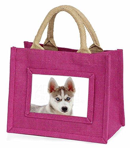 Advanta–Mini Pink Jute Tasche Siberian Husky Little Girls kleinen Einkaufstasche Weihnachten Geschenk, Jute, pink, 25,5x 21x 2cm