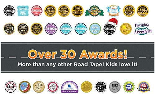 PlayTape Road Rally Road and Curve Assortment for 5-7 Kids - Road Car Tape Great for Kids, Sticker Roll for Cars and Train Sets, Stick to Floors and Walls, Quick Cleanup, Children Toys Birthday Gift by InRoad Toys (Image #3)