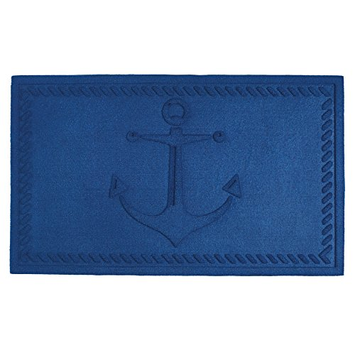 DII Indoor/Outdoor Industrial, Durable Non-Slip Polypropylene Fiber, Hog Mat Easy Clean Rubber Back Entry Way Doormat for Patio, Front Door, All Weather, Exterior Doors, 18 x 30 - Blue Anchor - Anchors Away Blue Rug