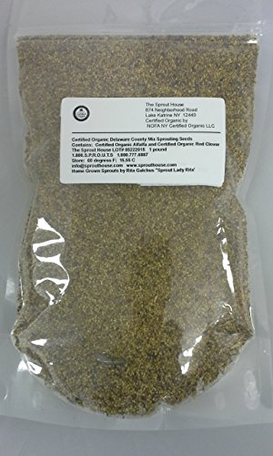 The Sprout House Certified Organic Non-gmo Sprouting Seeds - Delaware County Special 1 Pound Alfalfa and Clover